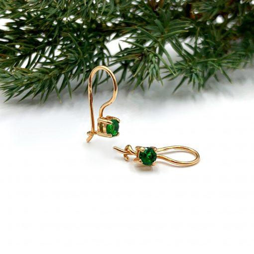 Золоті сережки з зеленим фіанітом