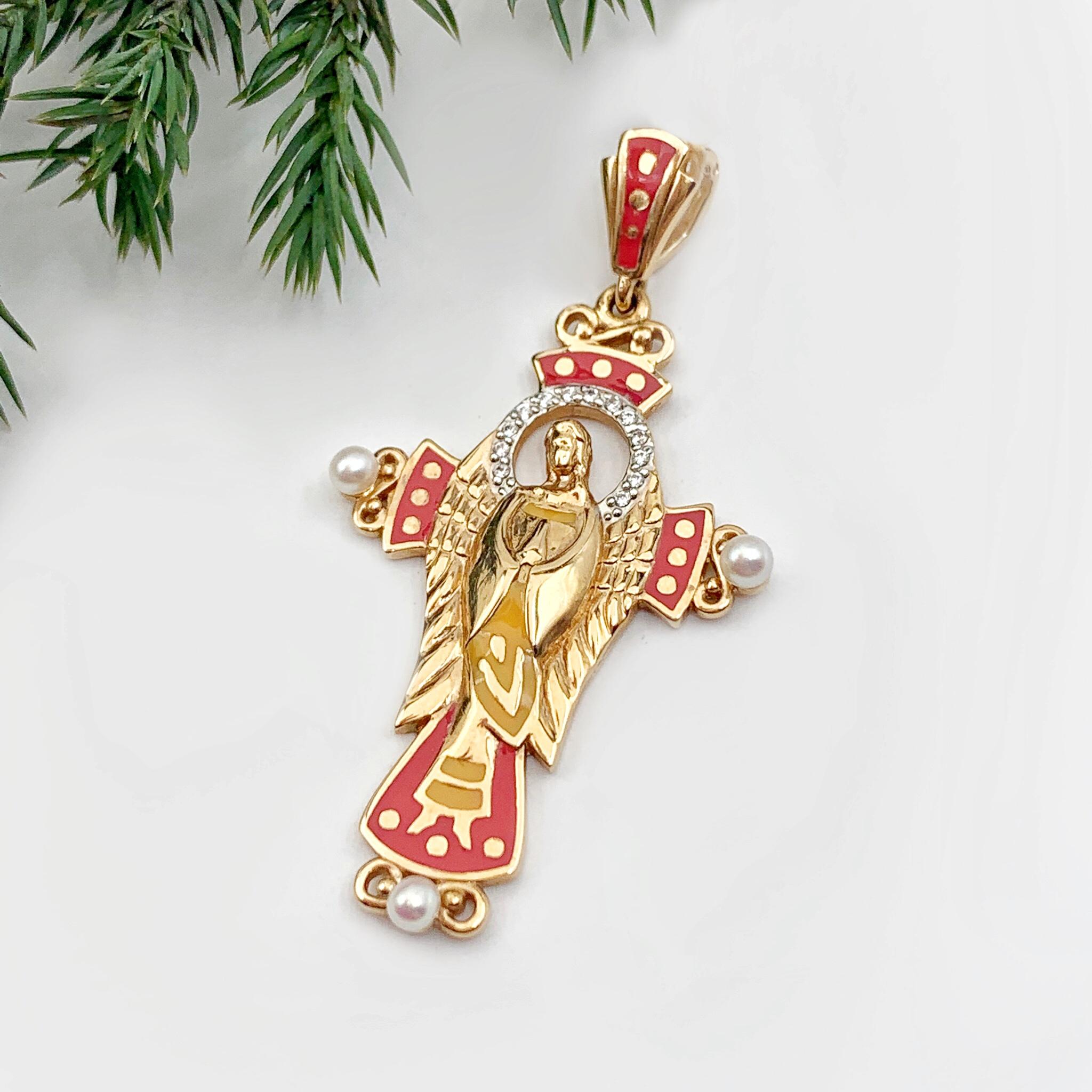 Золотий хрестик з ангелом