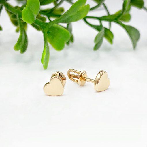 Золоті сережки пусети сердечка