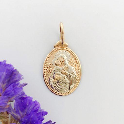 Золота підвіска Матір Божа