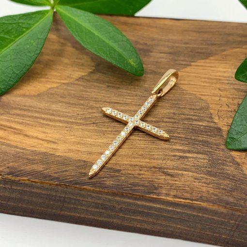 Золотий хрестик з фіанітами