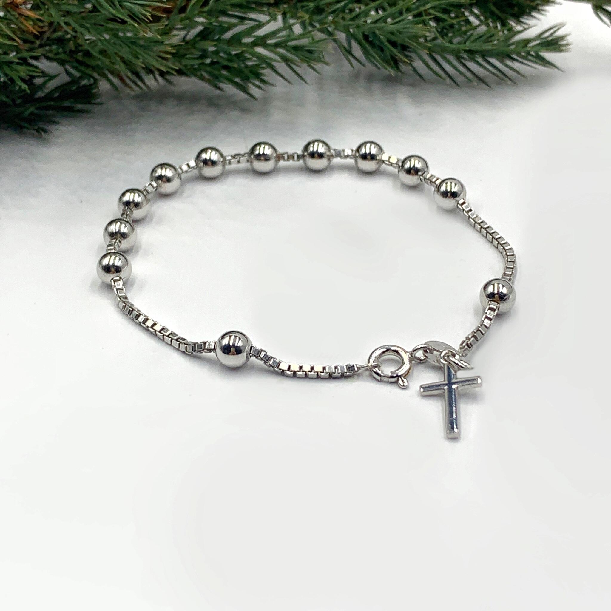 Срібний браслет вервиця