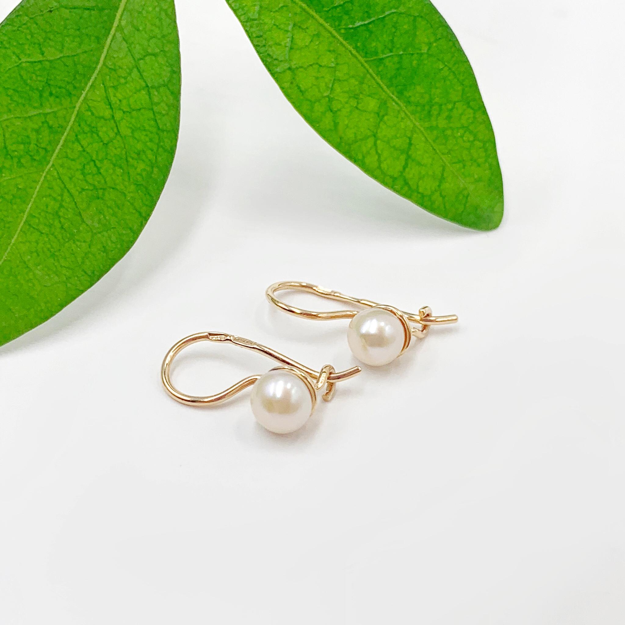 Золоті сережки перлинка