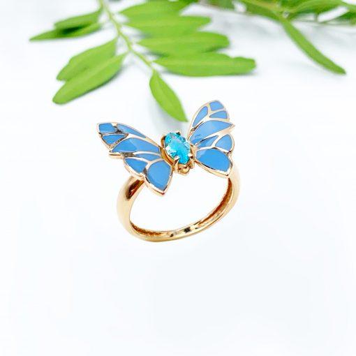 золотий перстень емаль